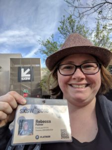 Rebecca Palmer with SXSW Badge