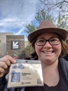 Rebecca Palmer with SXSW Badge